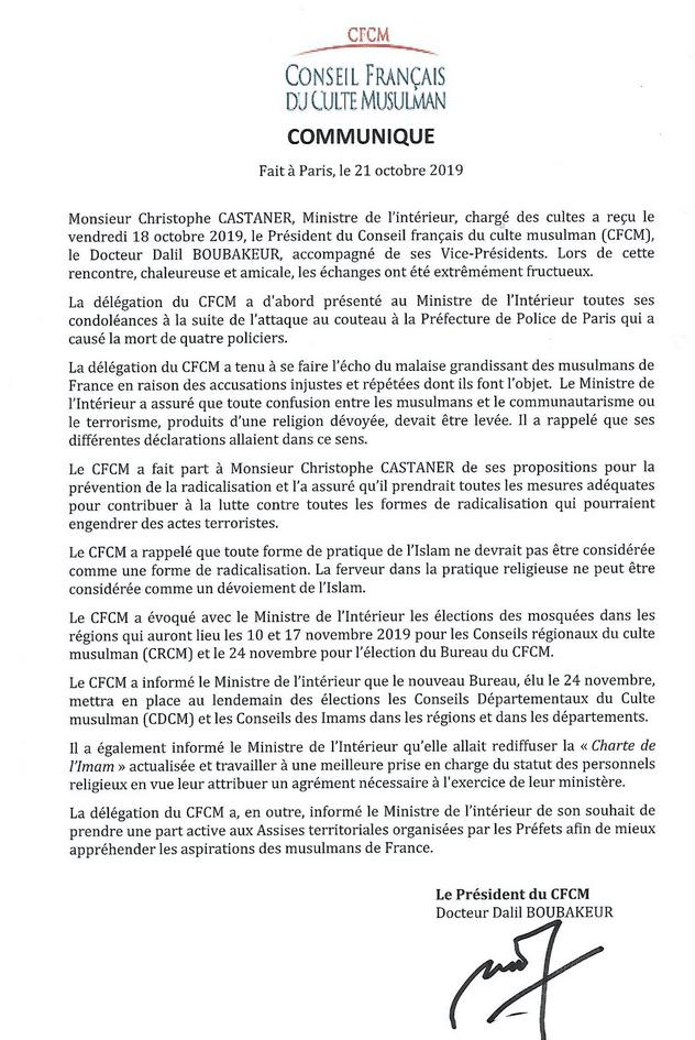 Communiqué CFCM