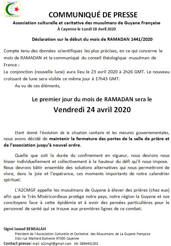 DÉBUT RAMADAN VENDREDI 24 AVRIL 2020 INCHAALAH