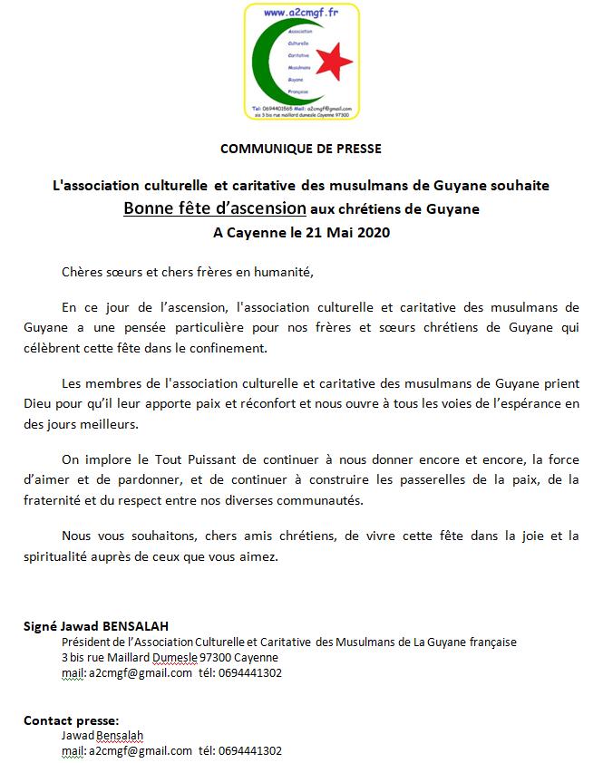 L'association des musulmans de Guyane (A2CMGF) souhaite une Bonne fête d'ascension aux chrétiens de Guyane