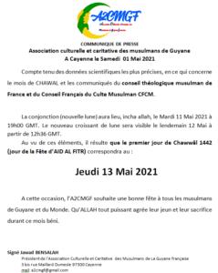 AÏD AL FITR Jeudi 13 Mai 2021